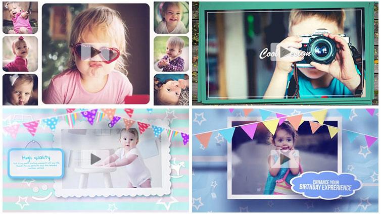 10套儿童相册宝宝生日相册ae模板