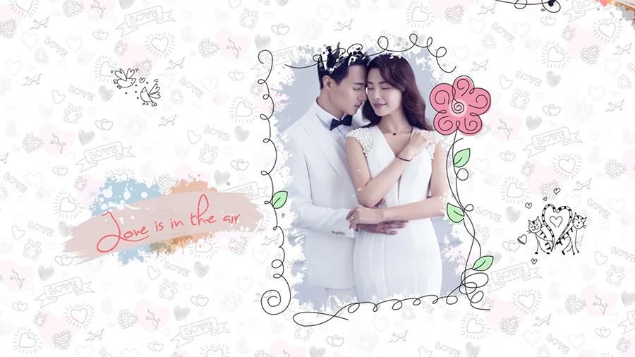 小清新相册花之语婚礼视频模板