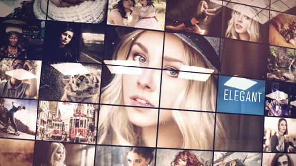 震撼大气图片墙照片墙多屏幕图片照片展示AE模板