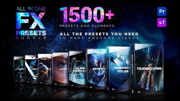 1500种视觉特效电影文字标题转场LOGO动画素材背景音效LUTS调色预设 FX Presets Pack V7