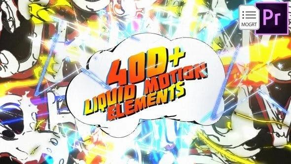 400个复古卡通液体MG动画元素预设包